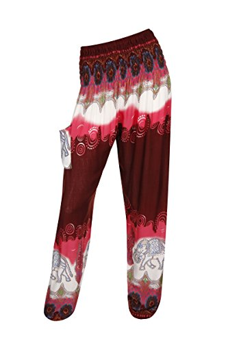 Pantalones harén–ALADDIN pantalones de Hippie con 18Diferentes diseños Elegant Elephant Red