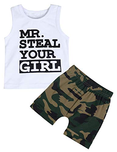 Toddler Baby Infant Boy Clothes Mr Steal Your Girl Vest +Camouflage Shorts Outfit Set(12-18 Months)]()