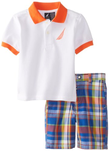 Nautica Baby Boys' 2 Piece Solid Polo Plaid Short Set, White, 12 Months
