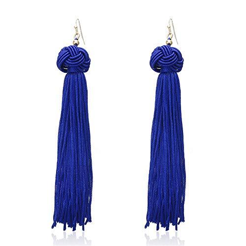 New Bohemian Gold Color Tassel Long Earrings Brinco Many Colors Silk Hanging Earrings for Women ()