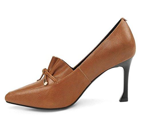 Pied Attacher Haute Fermé Doux BROWN EUR35UK3 Femmes Pompes Chaussures Talon de Boîte Chaussure NVXIE Doigt de Arc Fête Marron Cuir Tribunal Noir Stylet Robe Nuit qnEzOwnF