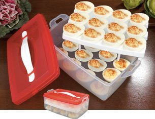 2 TIER SNAP N STACK DEVILED EGG CARRIER (HOLDS 24 EGGS!) by BW Brands