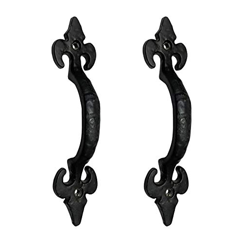 Adonai Hardware Nethaniah Antique Iron Door and Cabinet Pull (Black Powdercoated) ()