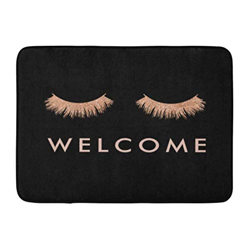 SPXUBZ Black Rose Eyelashes Welcome Beautifuly Eyes Makeup Non Slip Entrance Rug Outdoor/Indoor Durable and Waterproof Machine Washable Door mat Size:23.6x15.7 inch