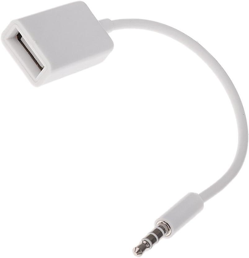 Cable Convertidor 3,5mm Macho Aux de Audio Conector Jack a USB 2.0 Hembra