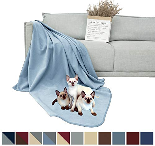DEARTOWN 100% Waterproof Furniture Cover for Dogs and Cats,Super Soft Pet Blanket for Bed Couch Sofa (70×70 Inches, Blue)
