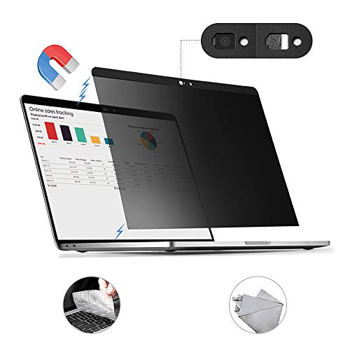 for MacBook Pro 15 inch Privacy Screen Protector Filter, Magnetic Installation, Webcam Cover, TPU Keyboard Cover, (for MacBook Pro 15 inch (2016~2019)