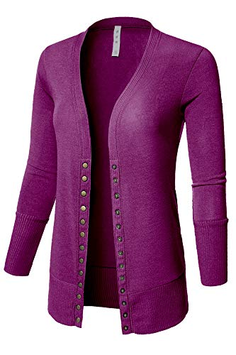 Women's V Neck Cardigan Snap Button 3/4 Sleeve Sweater with Ribbed Detail Collection Plus Size [S-3X] Plum Small