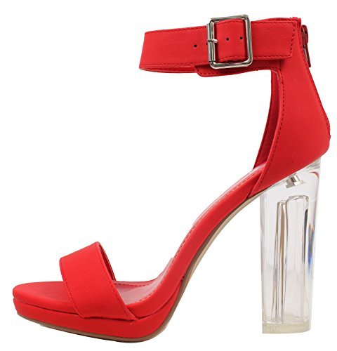 Delicious Womens Wide Strap Open Toe Ankle Strap Clear Lucite Heels Red YCwd73sF
