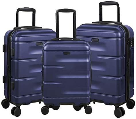 Expandable Luggage 3 Piece Set Suitcase Spinner Hardside with TSA Lock and Dual Wheels, Navy