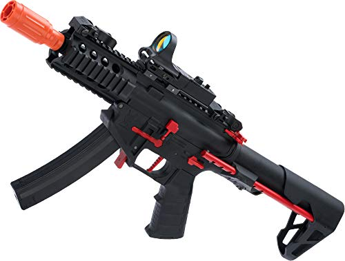 Evike King Arms PDW 9mm SBR Airsoft AEG Rifle (Color: Black & Red/Shorty)