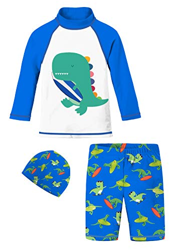 Baby Boys Long Sleeve Swimsuits Royal Blue White Teal Dinosaur Surfboard Swimwear Bathing Suit Set Animal Printed 2 Piece Swim Shirt Trunks Designer Rash Guard Vest for Kids Swim Lessons Indoor Pool