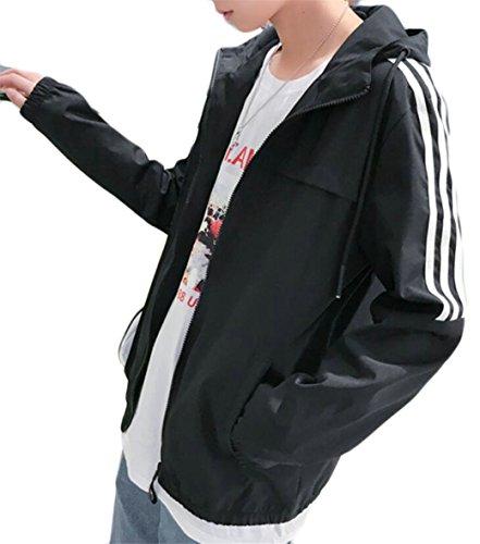 Gocgt Mens Up Lightweight Zip Jackets Drawstring Slim Bomber Black Fit OPrZOwqW