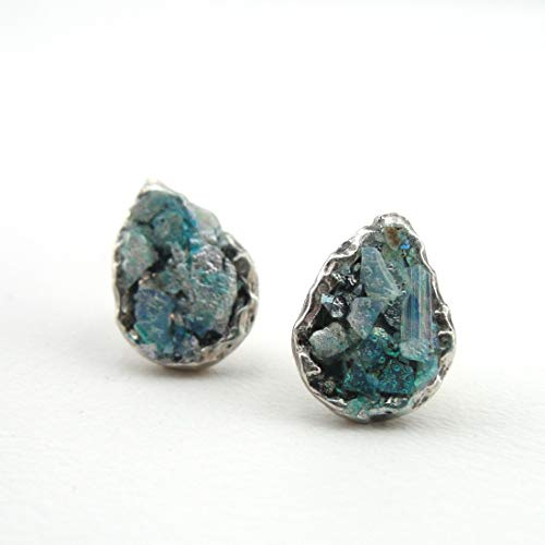 Drop shaped silver 925 earings with genuine roman glass, blue-turquoise colors- 2000 years old ancient glass in a Gift box! Best christmas gift 2000 Years Old Roman Glass