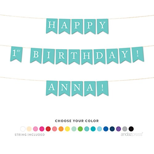 Andaz Press Personalized Hanging Birthday Party Pennant Banner with String, Happy 1st Birthday Anna!, 6-Feet, 1-Set, Custom Name and Color