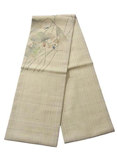 ステージ書く生き物リサイクル 名古屋帯 夏物 蓮の葉にルリビタキ 正絹
