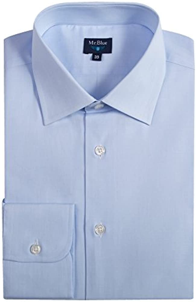 Mr. Blue - Camisa Hombre Clásica Lisa, Color Azul Claro, Talla 42 ...