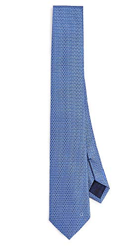 Silk Blue Tonal Tie (Salvatore Ferragamo Men's Tonal Gancini Tie, Blue, One Size)