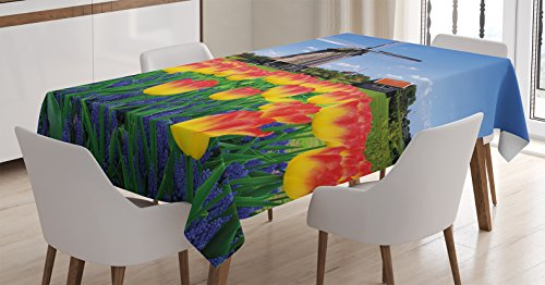 Ambesonne Landscape Tablecloth, Tulip Blooms with Classic Dutch Windmill Netherlands Countryside Spring Picture, Dining Room Kitchen Rectangular Table Cover, 60