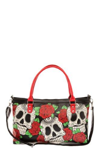 Folter-Skull-Roses-Handbag-Sugar-Skull-Red-Roses-Handbag