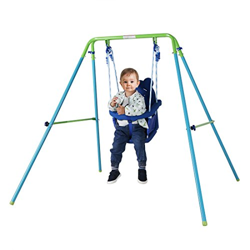 HAHAHA AH Blue Folding Swing Outdoor Indoor Swing Toddler Swing with safety...