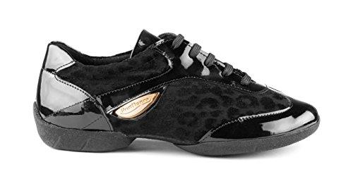 Sneaker Sneakers Patent Femmes Noir Dance PD02 Fashion Suéde Sole PortDance qTawRB