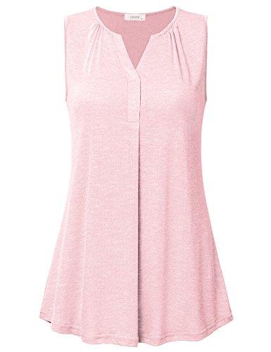 Women's Sleeveless V Neck Henley Tunic Shirt Loose Pleats Knit Tank Tops Pink XL