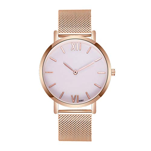 NOMENI watch unisex solid color background quartz watch mesh strap Arabic numerals simple fashion look ladies watch (Mickey Mouse Gold Pocket Watch)
