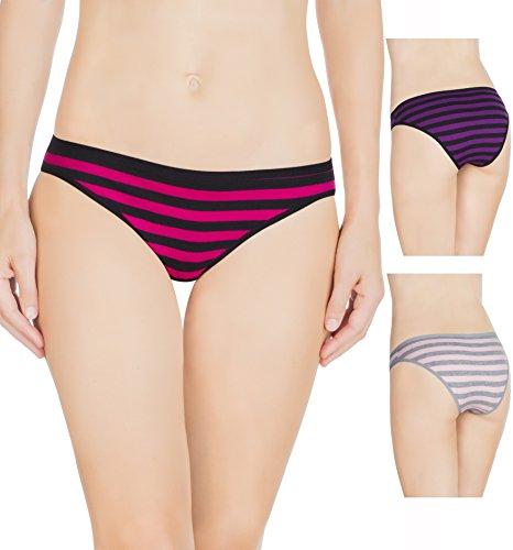 Nabtos Women Sexy Cotton Bikini Stripes Underwear Panties (Pack of 3) (Large/7, Rose Stripes)