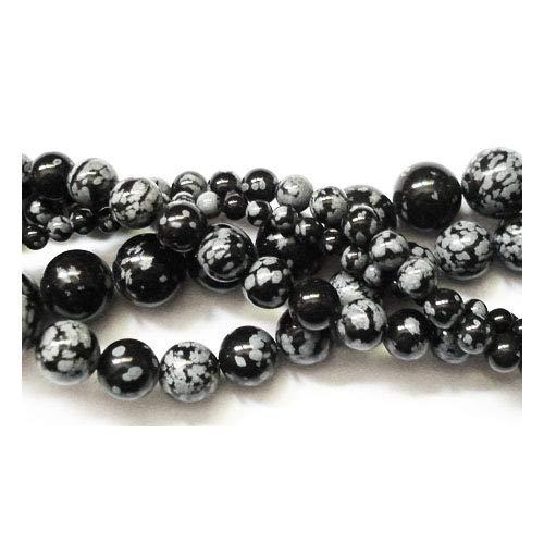 (Strand 60+ Black/White Snowflake Obsidian 6mm Plain Round Beads GS1656-2 (Charming Beads))