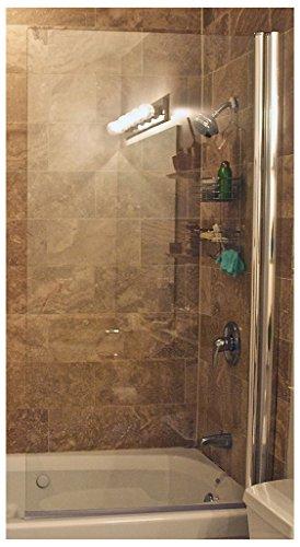 Ark Showers Semi-Frameless Bathtub Shower Screen, Pivot Door, 60 X 30, 5/16 (8mm) Glass With Round Top Corner, Polished Silver Hinge. Model ()