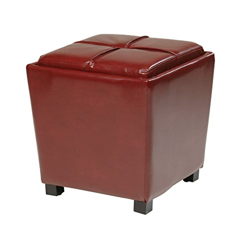 Office Star Metro 2-Piece Storage Ottoman Cube Set in Eco Leather, Red