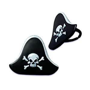 Dress My Cupcake DMC41P-53 12-Pack Pirate Hat Ring Decorative Cake Topper, Birthday, Black