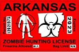 Arkansas AR Zombie Hunting License Permit Red - Biohazard Response Team Automotive Car Window Locker Bumper Sticker