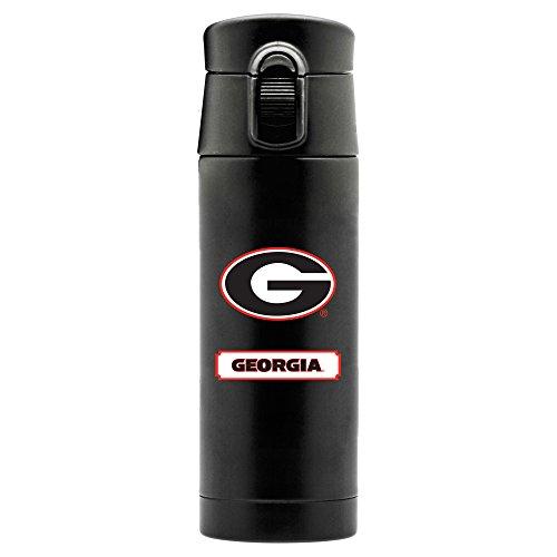 NCAA Georgia Bulldogs 16oz Double Wall Stainless Steel Thermos, Matte Black