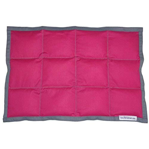 SensaCalm Sensory Weighted Lap Pad, Weighted Calm Blanket Pink Raspberry and Volcanic Gray, 2 lbs 12 x 18 inches