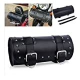 E-most Scooters Roll Barrel Shape Black Leather Tool Pouch Bag Fit Honda Kawasaki Suzuki Yamaha Harley Sissy Bar
