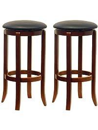 winsome wood 30inch black pvc seat walnut bar stools set of 2