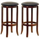Winsome Wood 30-Inch Black PVC Seat Walnut Bar Stools, Set of 2