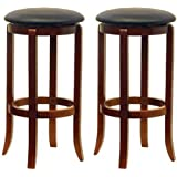 Winsome Wood 30-Inch Black PVC Seat Walnut Bar Stools Set of 2  sc 1 st  Amazon.com : fabric bar stools with backs - islam-shia.org