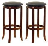 Bar Stools 30 Winsome Wood 30-Inch Black PVC Seat Walnut Bar Stools, Set of 2