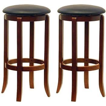 Winsome Wood Inch Black PVC Seat Walnut Bar Stools Set of 2
