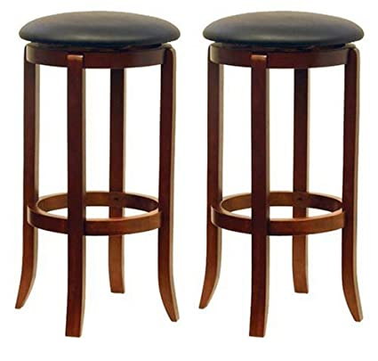 Amazoncom Winsome Wood 30 Inch Black Pvc Seat Walnut Bar Stools