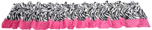 Baby Doll Bedding Zebra Minky Window Valance, (Chenille Zebra Fabric)