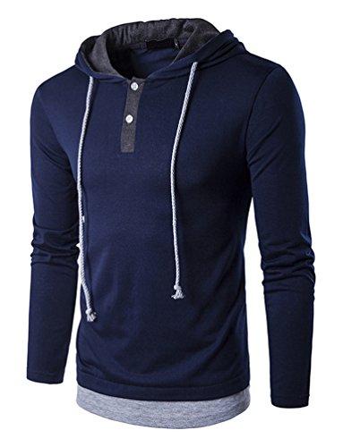 Hengta Men's Hooded Shirts Casual Long Sleeve T Shirt Hoodies Blue L (Sleeve Hooded Casual Long)