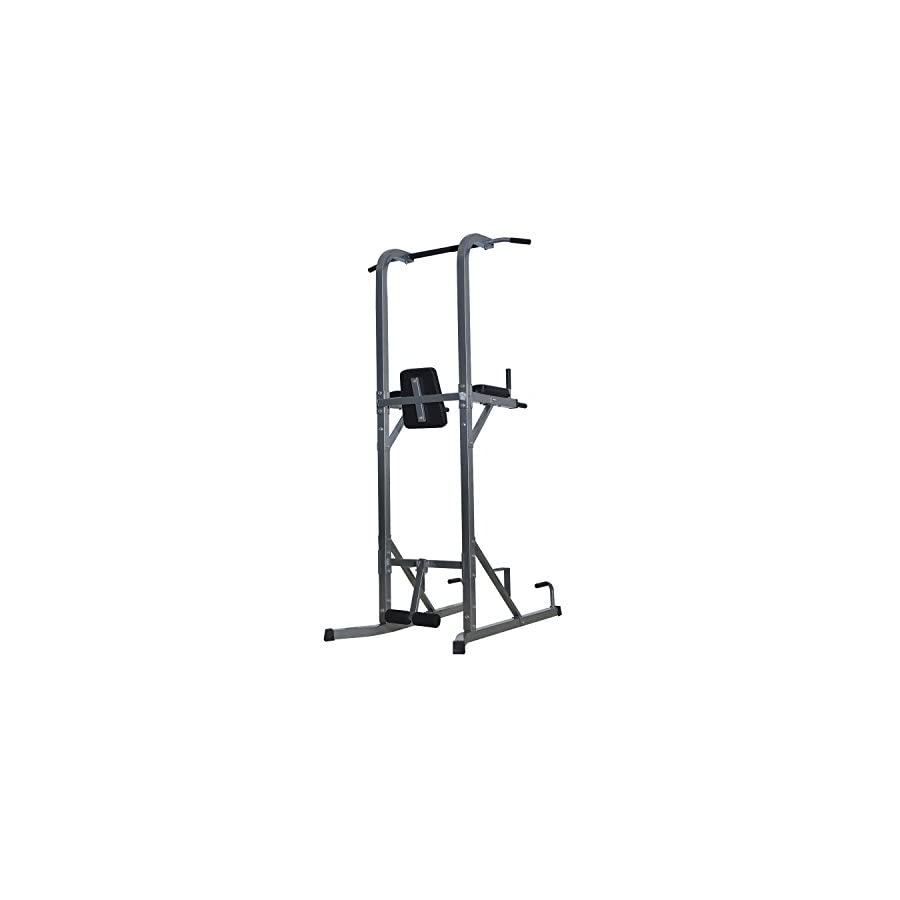 "Soozier 86"" Adjustable Power Tower Home Fitness Station Silver/Black"