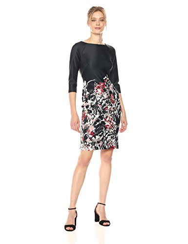 Taylor Dresses Women's Trailing Floral Border Midi Sheath, Black/red Coral, 6 from Taylor Dresses