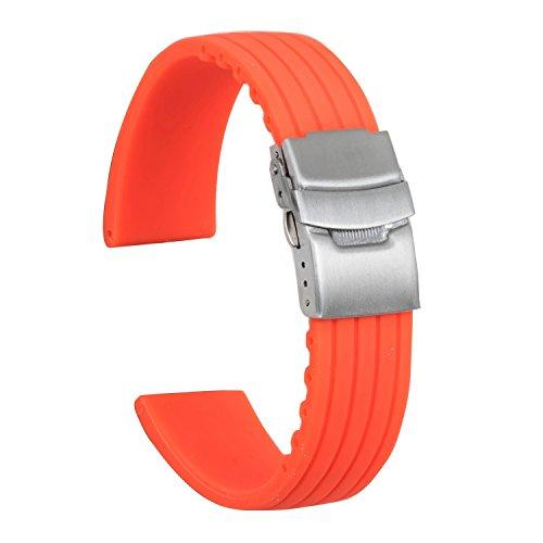 Strap Alligator Orange (Ullchro Silicone Watch Strap Replacement Rubber Watch Band Waterproof Stripe Pattern - 16mm, 18mm, 20mm, 22mm, 24mm Watch Bracelet with Stainless Steel Deployment Buckle (22mm, Orange))