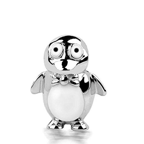 Jovana Sterling Silver Penguin Charm White and Black Enamel, fits Pandora Bracelet