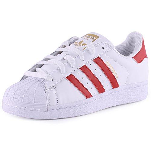 adidas Superstar Foundation, Sneakers da Uomo Bianco / Rosso Scarlatto (Ftwr White/Scarlet/Ftwr White)